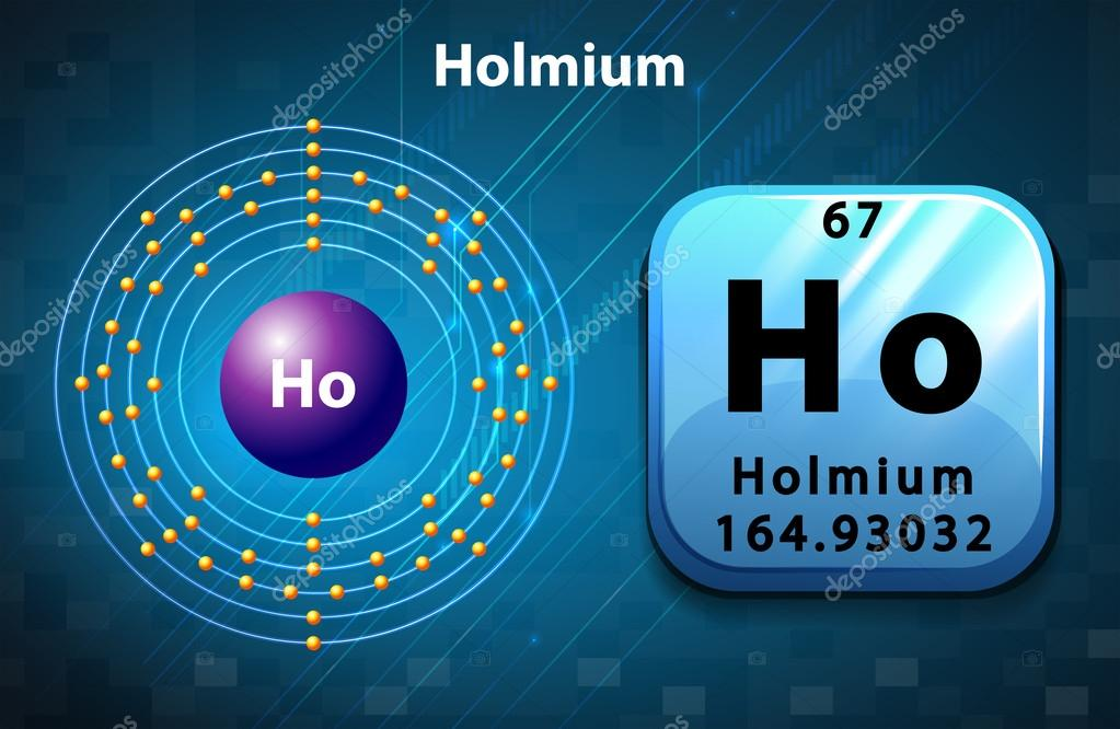 Symbol And Electron Diagram For Holmium Stock Vector