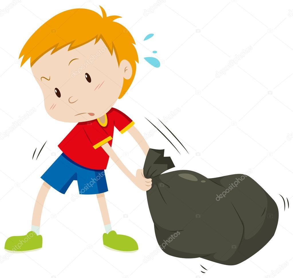 Niño, arrastrando una bolsa negra — Archivo Imágenes Vectoriales ...