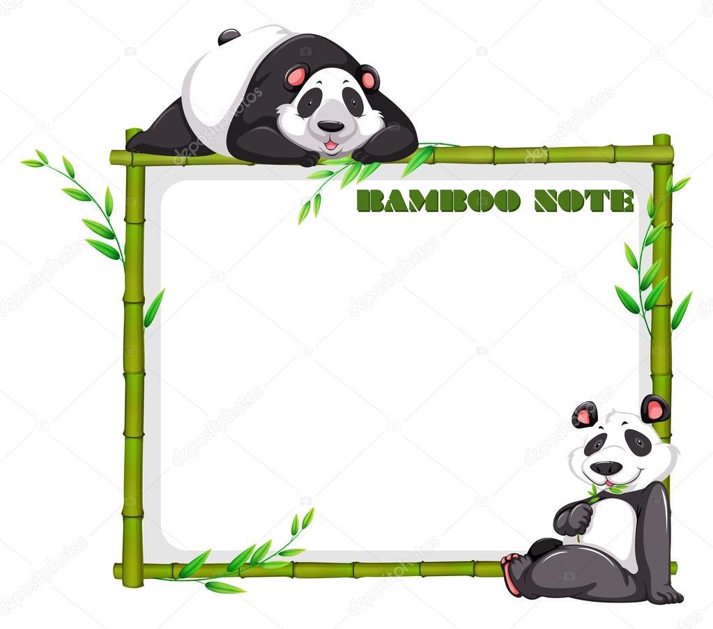 border design with bamboo and panda � stock vector