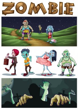 Zombie theme with zombies walking in the park at night