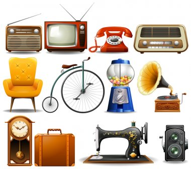 Many type of vintage objects illustration stock vector