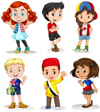 Boys and girls from different countries illustration clip art vector