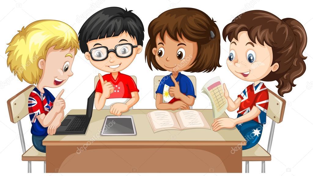 Niños Y Niñas Trabajando En Grupo