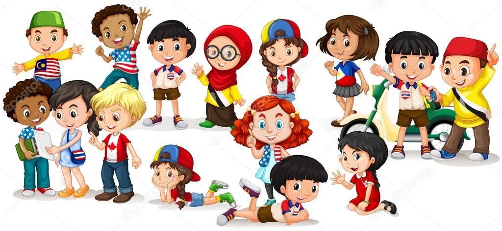 Groupe d 39 enfants internationales image vectorielle blueringmedia 88071374 - Dessin groupe d enfants ...