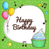 Fényképek Boldog születésnapot kártya cupcake és a lufi