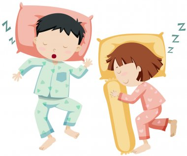 Boy and girl sleeping side by side