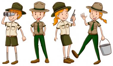 Park rangers in brown uniform illustration stock vector