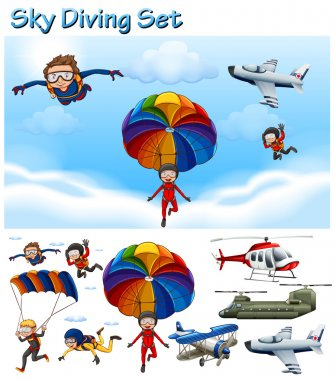 Sky diving set with people and equipment