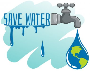 Save water theme with earth and faucet