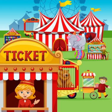 Ticket booth at the carnival illustration stock vector