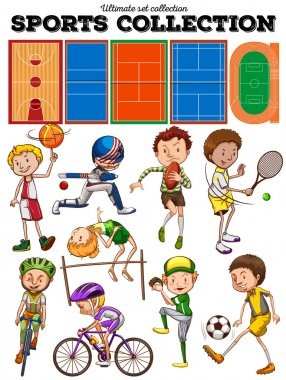 Different kind of sports and courts