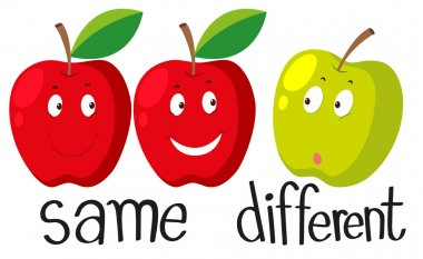 Opposite adjectives with same and different