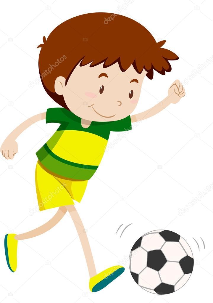 Little Boy Spielt Fussball Stockvektor C Blueringmedia