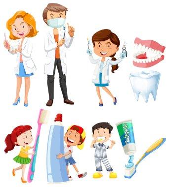 Dentist and children brushing teeth