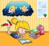 Fotografie Mädchen lesen Bücher im Zimmer