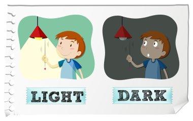 Opposite adjectives light and dark