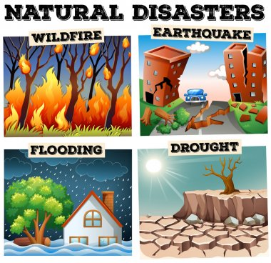 Different type of natural disasters illustration clip art vector