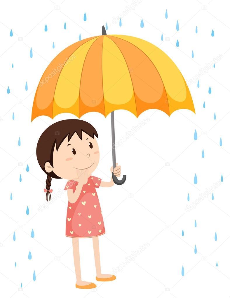 Mädchen Mit Schirm Im Regen Stockvektor Blueringmedia 92421424