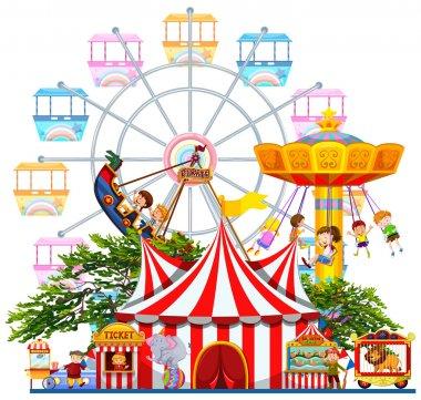 Amusement park scene with many rides