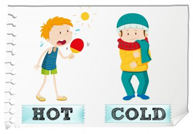 Opposite adjectives hot and cold illustration clip art vector