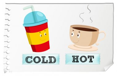 Opposite adjectives with cold and hot illustration clip art vector