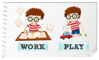 Opposite adjectives with boy working and playing