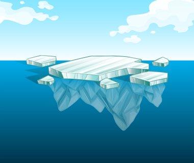 Thin iceberg on water