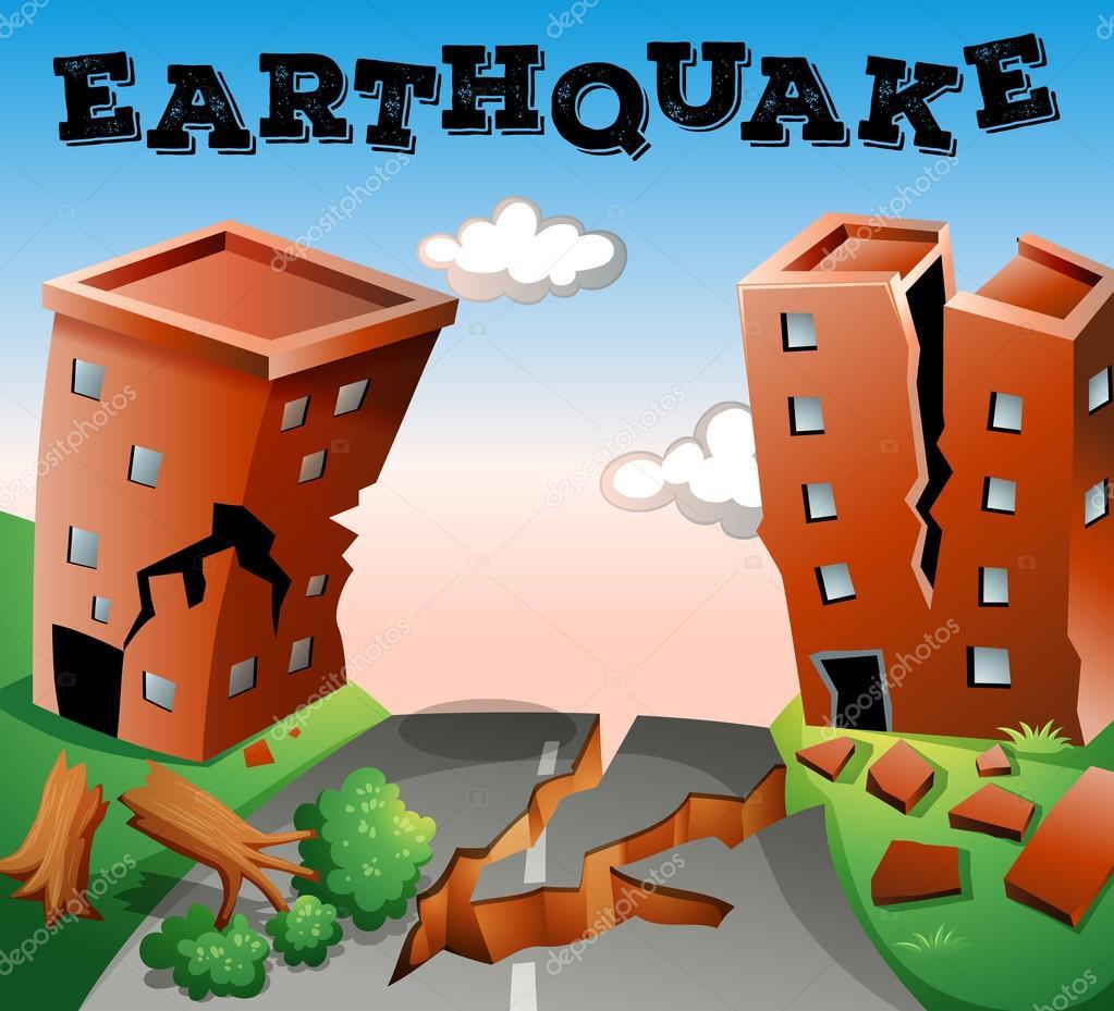 Natural disaster scene of earthquake