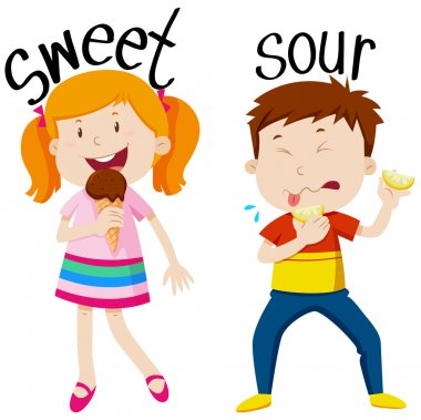 Opposite adjectives with sweet and sour