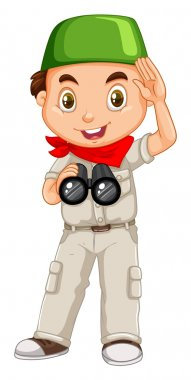 Muslim boy with binoculars