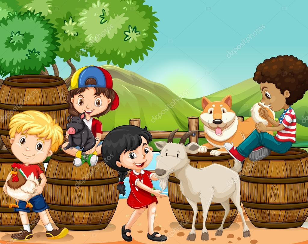 Bambini e animali da fattoria vettoriali stock for Piani di fattoria tedesca