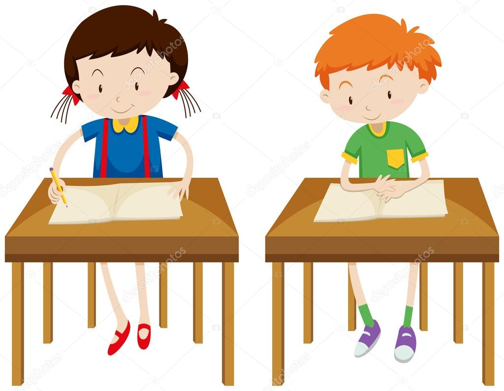 Boy And Girl Studying At Their Tables Stock Vector