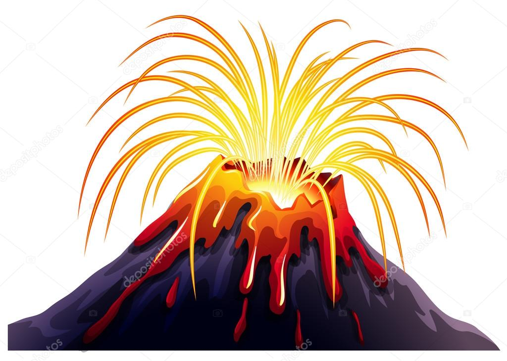熱い溶岩と火山の噴火 ストックベクター Blueringmedia 95681616