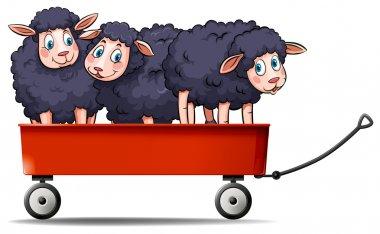 """Картина, постер, плакат, фотообои """"три черных овцы на красной повозке """", артикул 97184372"""