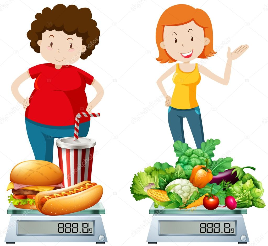 Clipart: unhealthy food | Woman eating healthy and ...