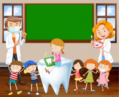 Dentists teaching children about cleaning teeth