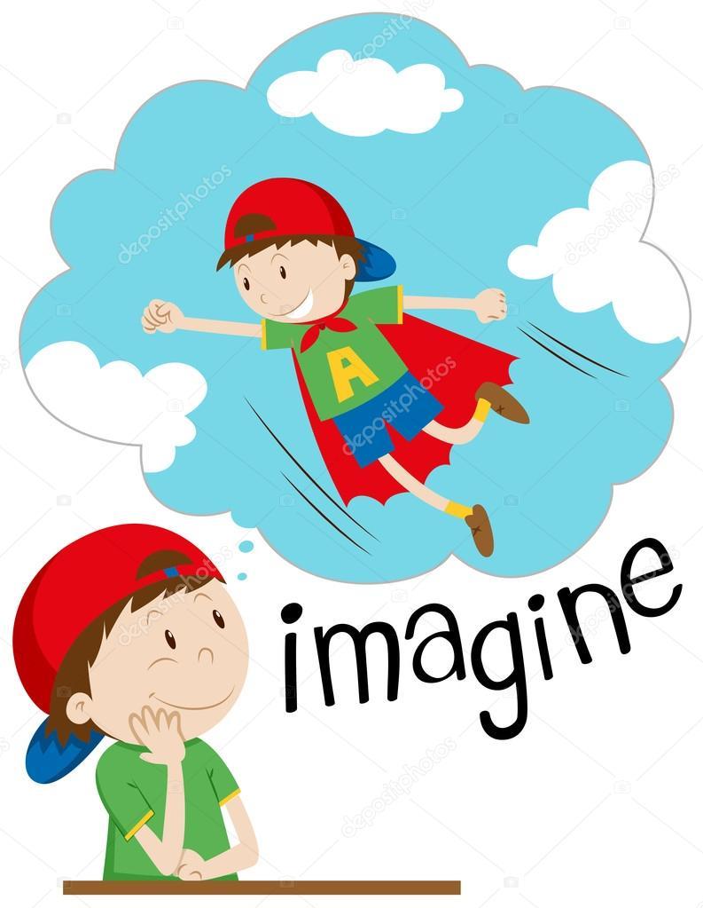 Junge imaginieren als Superheld — Stockvektor © blueringmedia #97944236