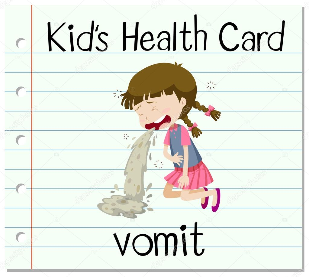 Health card with girl vomitting