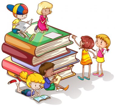 Kids reading books together