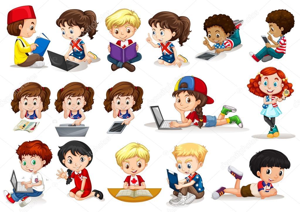 Imágenes Niños Leyendo Anime Niños Y Niñas Trabajando Y Leyendo