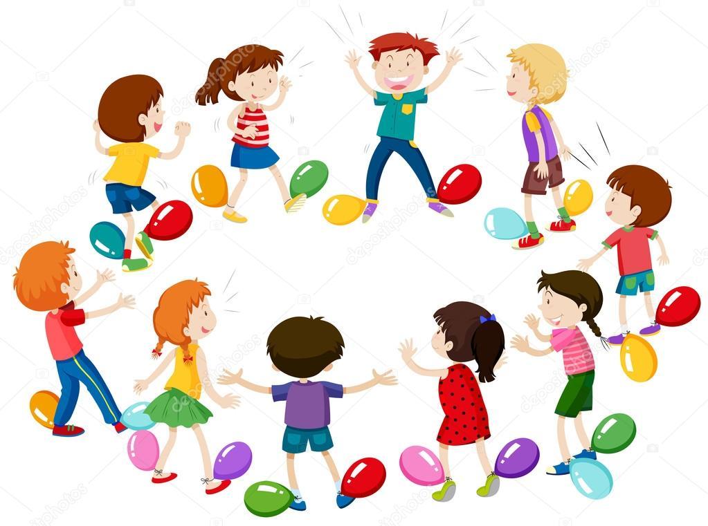 Niños juego de reventar globos — Vector de stock ...