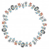 Photo Isolated childrens round blank frame of cute cartoon animals in sweaters, scarves and ice skates on a white background. Hedgehogs, squirrels, foxes, bears, raccoons, hares and deer. Vector.