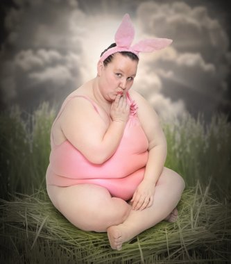Crazy Easter postcard with overweight woman