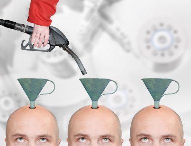 Hairless men's heads with funnels and fuel nozzle