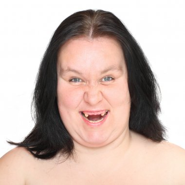 ugly woman with missing teeth.