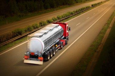 Motion blurred tanker truck