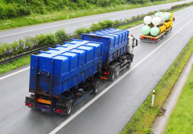 Trucks with toxic waste on the highway