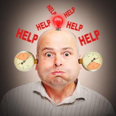 Stressed businessman under pressure