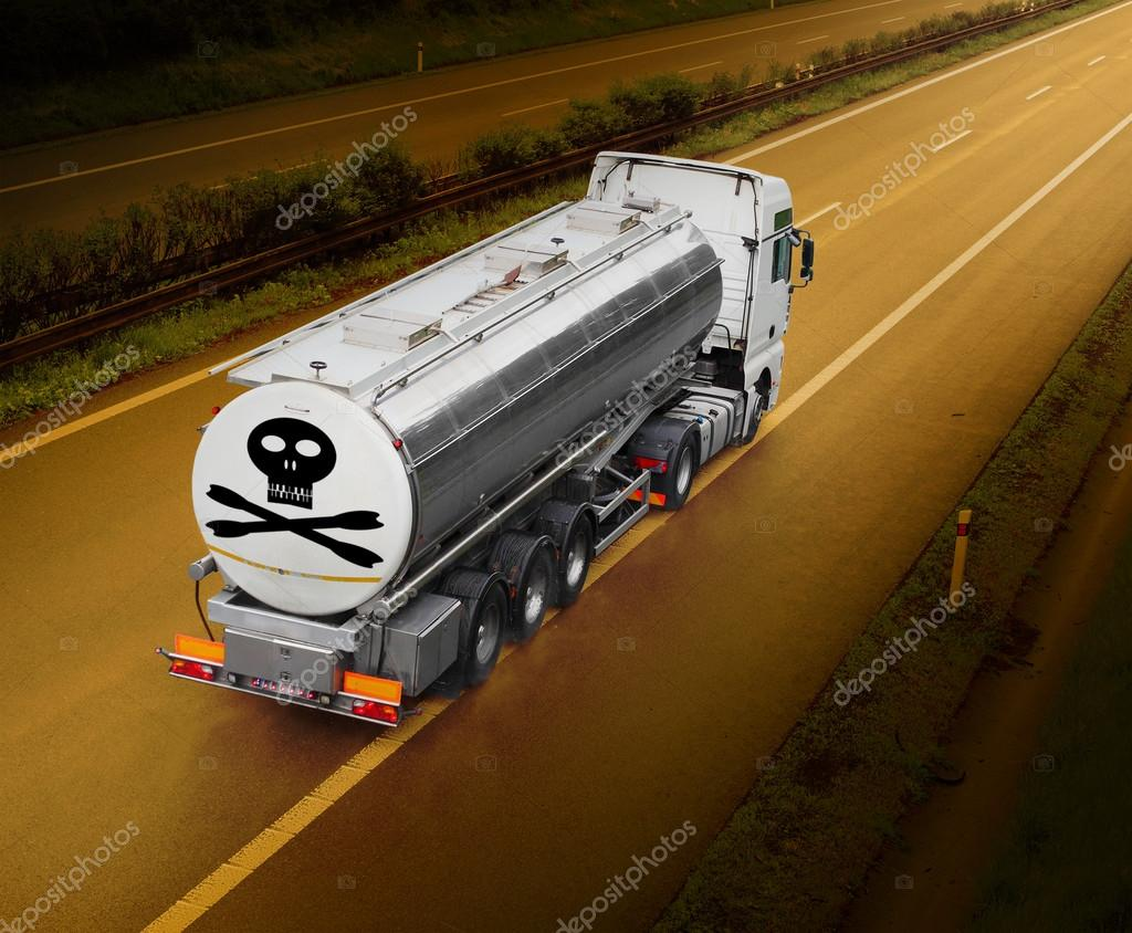 Tanker truck with toxic content