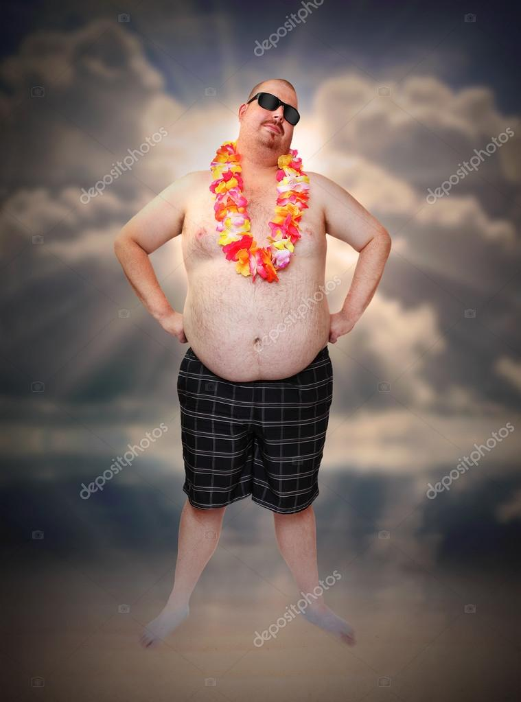 Overweight man with hawaian flowers